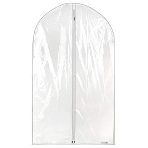 Hangerworld - 12 Porta abiti impermeabili, trasparenti con zip e finiture di colore bianco (lunghezza 100 cm)