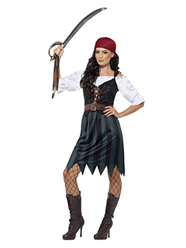 Smiffys 45491L - Damen Piraten Werftarbeiterin Kostüm, Shirt, Weste, Rock, Gürtel und Kopftuch, Größe: 44-46, blau