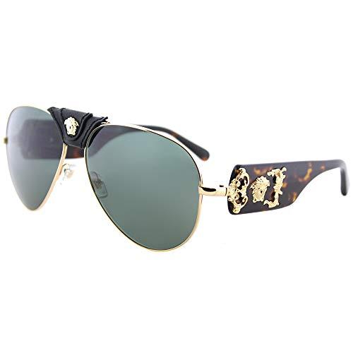 Versace Herren 0VE2150Q 100271 62 Sonnenbrille, Gold (Gold/Grey Green)