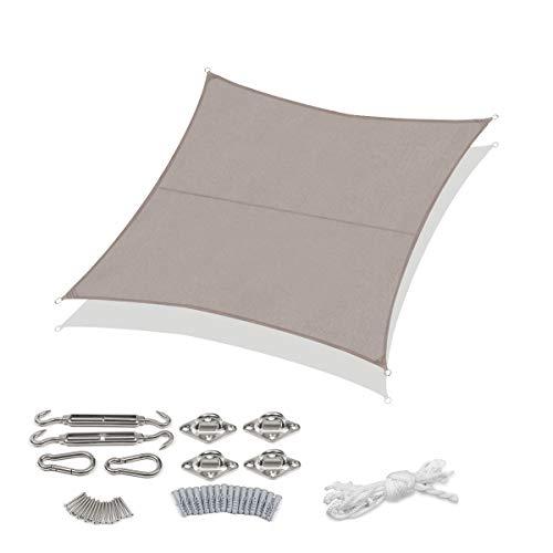 Sekey Sonnensegel Sonnenschutz Quadratische Polyester Windschutz Wetterschutz Wasserabweisend Imprägniert UV Schutz, Überlegene Reißfestigkeit mit Seilen undBefestigungsKit, Taupe 3×3m