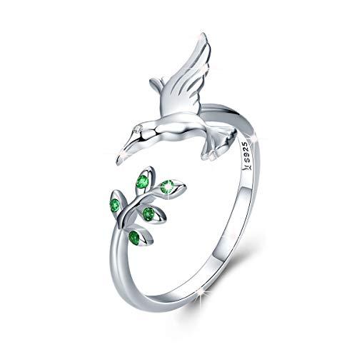 Anillo ajustable para mujer de plata de ley 925 con hojas de árbol de pájaro, anillos abiertos con circonita cúbica verde