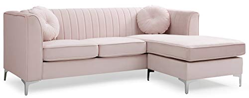 Glory Furniture Delray Sofa Chaise, Pink. Living Room Furniture, 3 Seater