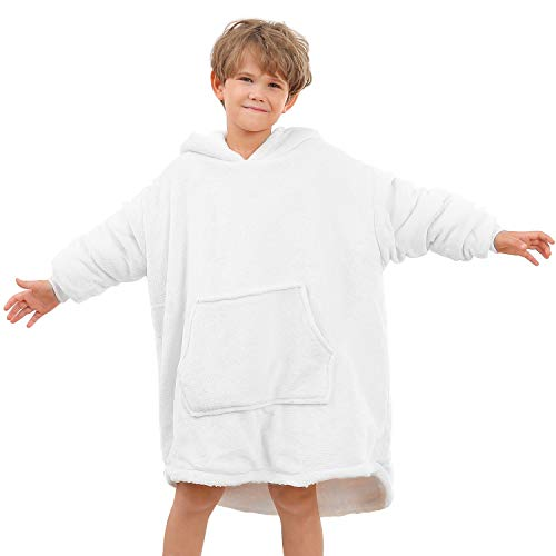 BUZIO Oversized Hoodie Blanket for Kids Under 14 Years Old, Wearable Fleece & Sherpa Blanket Sweatshirt with Hood, One Size Fits All, White