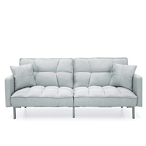 Best Choice Products Convertible Linen Fabric Tufted Split-Back Plush Futon Sofa Furniture for Living Room, Apartment, Bonus Room, Overnight Guests w/ 2 Pillows, Wood Frame, Metal Legs - Light Gray