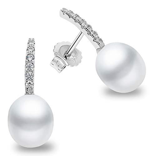 Orecchini di perle da donna coltivati Acqua dolce tipo goccia d'acqua 8,5-9 mm SECRET & YOU - Orecchini in argento sterling 925 rodiato
