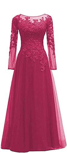 HUINI Abendkleider Spitze Ballkleider Lang A-Linie Brautjungfernkleider Brautkleid Vintage Festkleid Langarm Fuchsie 52