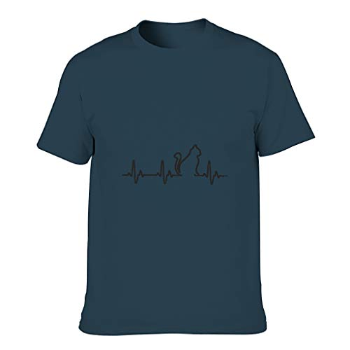 Camiseta de algodón para hombre con diseño de latido del corazón azul marino XXXXL