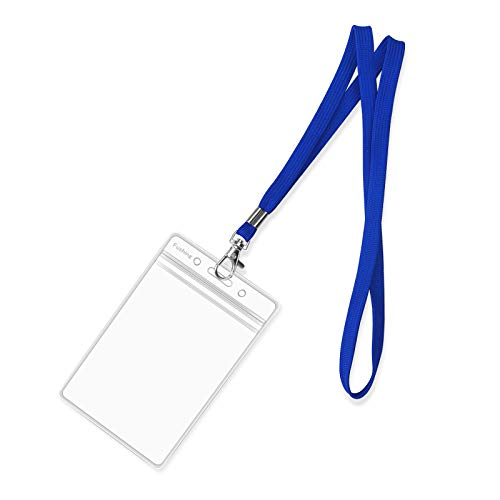 Fushing 50pcs Clear Plastic Vertical Name Tags Badge ID Card Holders and Blue Neck Lanyards with Swivel Hook for School, Festival, Event (5.32' x...