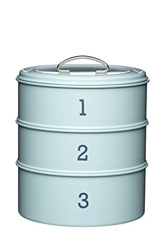 Taartbox met 3 niveaus, blik, uit de Living-Nostalgia-productserie, blauw