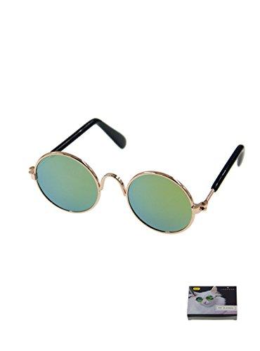 MMY Sonnenbrille für Haustiere, Metallgestell, klein, rund, für Katzen oder kleine Hunde, 1 Stück