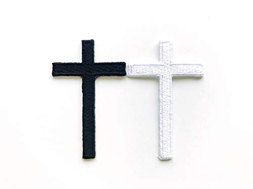 TH Set of 2 Tiny. Mini Black White Cross Logo Biker Motorcycle Sew Iron on Embroidered Applique Badge Sign Patch Clothing etc.
