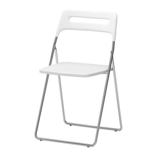 Ikea Nisse Klappstuhl, weiß, Hochglanz-verchromt, Chrome/White, Einzelpackung