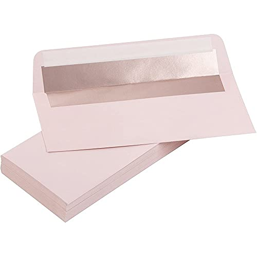 """50 Pack #10 Pink Business Envelopes Bulk, Rose Gold Foil Lined Self-Seal Letter, 4.125"""" x 9.5"""""""
