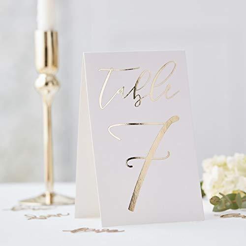 Edle Tisch-Nummern/Zahlen-Aufsteller 1-12 aus Pappe Weiß & Gold- Tisch-Deko-Ration/Gedeckter Tisch/Platz-Ordnung/Hochzeit-s-Dekoration/Geburtstags-Feier