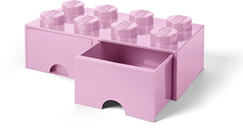 LEGO Brick Drawer, 8 Knobs, 2 Drawers, Stackable Storage Box, Light Pink