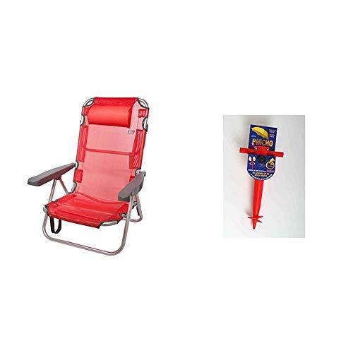 Aktive 53971 - Silla Plegable multiposición Aluminio 60 x 108 x 78 cm - Rojo + Pincho 400401 Soporte sombrilla, Rojo, 32x18x8 cm