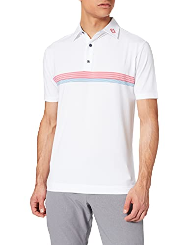 Footjoy Lisle ENGINEEREED CHESBAND Camisa de Golf, White/Cape Red/Storm Blue, XL para Hombre