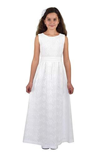 Verasposa® Langes Kommunionkleid Ella feine, hochwertige Baumwollstickerei 100% Baumwolle weiß 152/158