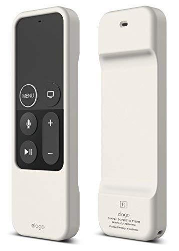 elago R1 Intelli Case Cover Silikonhülle Kompatibel mit Apple TV 4K 4. und 5. Generation Siri Remote Fernbedienung [Magnettechnologie] [Handgelenkschlaufe Inbegriffen] - Solid White