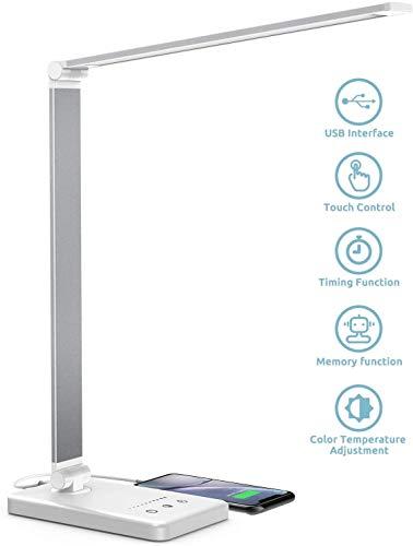 Chesbung Lampada da Scrivania LED, Lampada da Tavolo, 5 Modalità Colore, 10 Luminosità Dimmerabili, Funzione di Cronometraggio, Tocco-Controllo, Ricarica USB per Smartphone (Bianco)