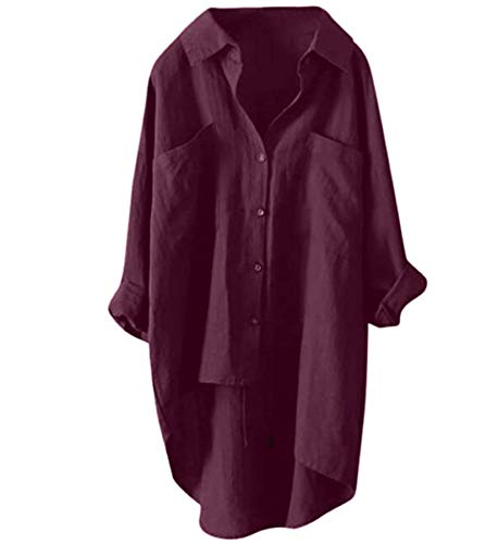 シャツ ワンピース チュニック ロング ブラウス 長袖 シャツワンピ red 2XL
