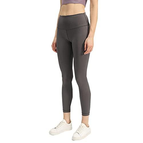 Damaifirstes PantalóN Deportivo Opaco Fitness,Nueve Pantalones Pantalones de Yoga Hembra Pantalones Deportivos-Gris Oscuro_S