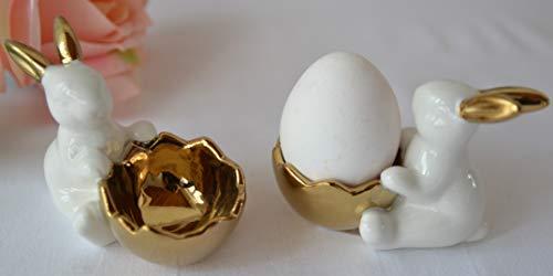Maison en France Eierbecher 2 Stück, edle stabile Eierbecher mit Hasen, Porzellan weiß-Gold, für die österliche Tisch-Dekoration