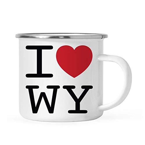 10 onzas. Taza de café de acero inoxidable para fogata, regalo de mordaza, I Love Wyoming, gráfico de corazón, paquete de 1, incluye caja de regalo, ideas de regalo para mudanza de larga distancia par