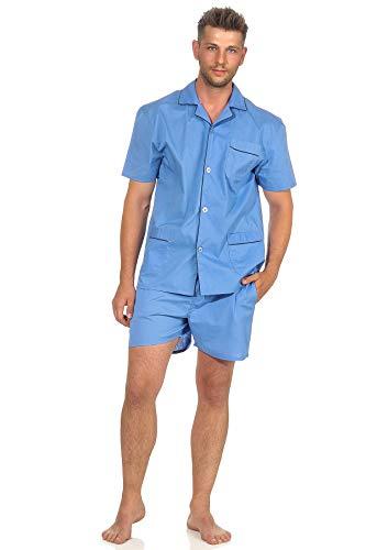 NORMANN-Wäschefabrik Klassischer Herren Shorty Pyjama Kurzarm gewebt mit durchknöpfbarem Oberteil - 105 91 120, Größe:54, Farbe:hellblau
