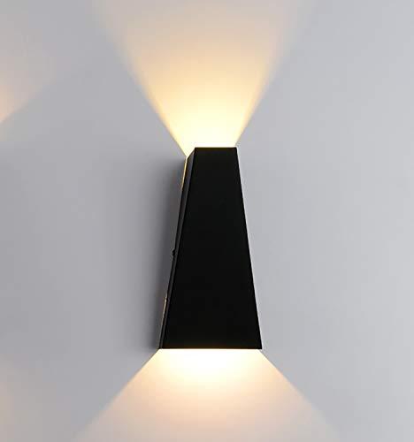 JXILY Lámpara De Pared Lámpara De Pared, Lámpara De Pared LED, Iluminación De Yeso Decorativo Iluminación hacia Abajo Downlight, Interior De Sala De Estar Y Dormitorio (Negro),Warm White