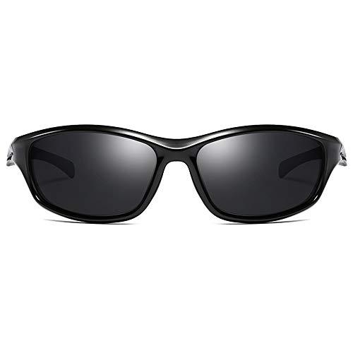 QCSMegy Gafas de sol para hombre, deportes, ciclismo, salvaje TR90, material tendencia, negro/azul/rojo, hombres y mujeres con las mismas gafas de sol (color: negro)