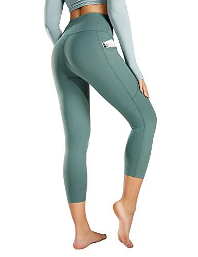 BALEAF High Waisted Yoga Capri Leggings for Women Workout Capris Tummy Control Crop Pants for Running Exercise Tile Green L