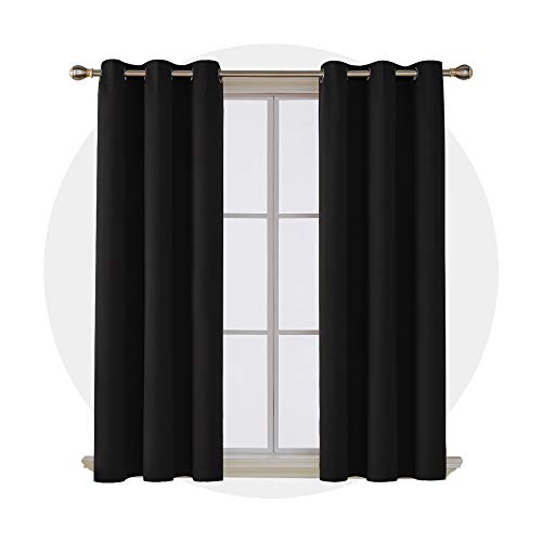 Deconovo Thermal Insulated Curtain Grommet Room Darkening Blackout Curtains for Windows 42x63 Inch Black 2 Panels