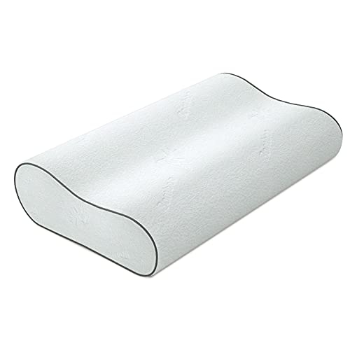 CozyLux Memory Foam Contour Pillow, Oeko Tex Bamboo Bed Pillow for Sleeping, Ergonomic Cervical Pillow for Neck Pain, Orthopedic Neck Support for Back, Side Sleepers, Washable Cover - Standard Size