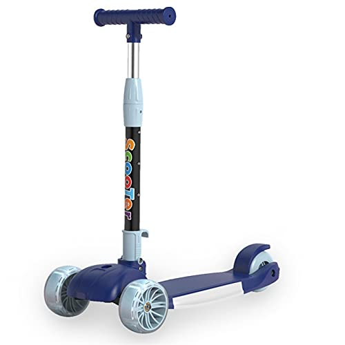 HDZW 3 Ruedas Scooter para niños niños Scooter Plegable Altura Ajustable Scooter Balance Bicicleta Deporte Juguetes Regalo para niña niña 4.29 (Color : Dark Blue)