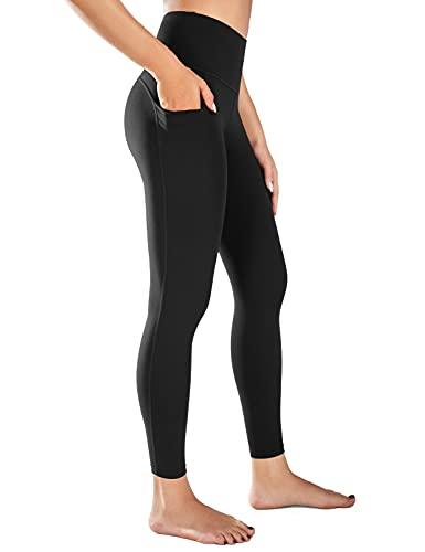 BALEAF Women's 7/8 High Waist Buttery Soft Yoga Leggings with Deep Pockets Brushed Stretch Squat Proof Workout Pants Black M