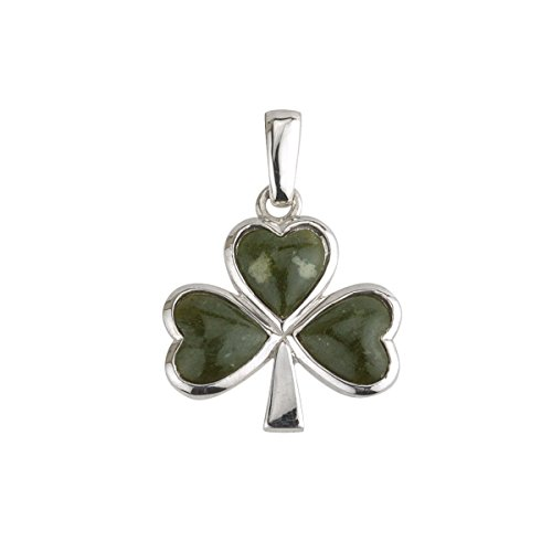 Shamrock Necklace Sterling Silver & Connemara Marble Irish Made