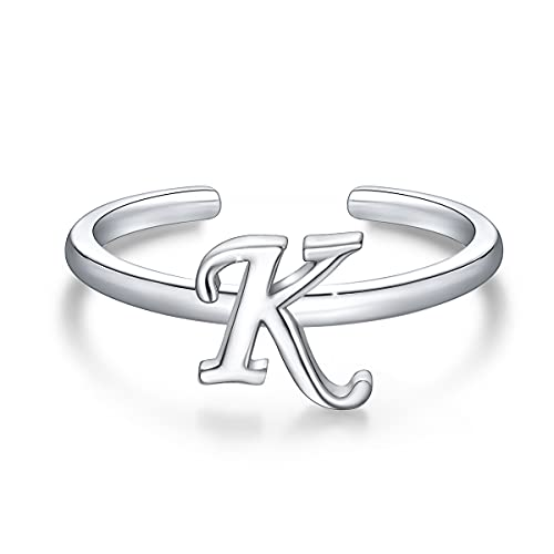 Anillos de letras iniciales apilables de plata de ley 925, anillo de letra K del alfabeto en mayúscula, banda inicial ajustable para mujeres y niñas
