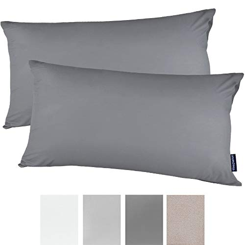 sleepwise™ Soft Wonder 2er Set Kopfkissenbezug 40x80 (Dark Grey, 40 x 80 cm)