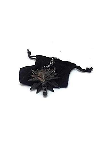 Colgante de The Witcher 3:Wild Hunt, diseño de lobo en aleación de zinc (ojos rojos)