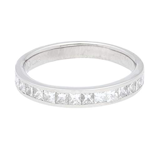 Anello Eternity da donna in oro bianco 18 carati con diamante taglio principessa da 1,00 ct (taglia J1/2) | Anello di lusso da donna