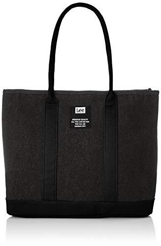 [リー] トートバッグ Leeロゴワッペン デニム素材 多機能 内装仕切りあり M メインファスナーあり ブラック