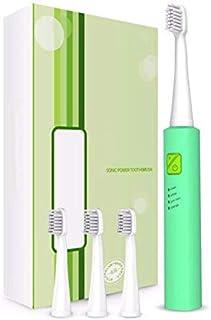 LMCYP 電動歯ブラシ、IPX7防水設計、誘導充電、3モード、毎分31000回の高周波クリーニング、スマートタイマーおよびリマインダー、4個の交換用ヘッド付き (色 : 緑)