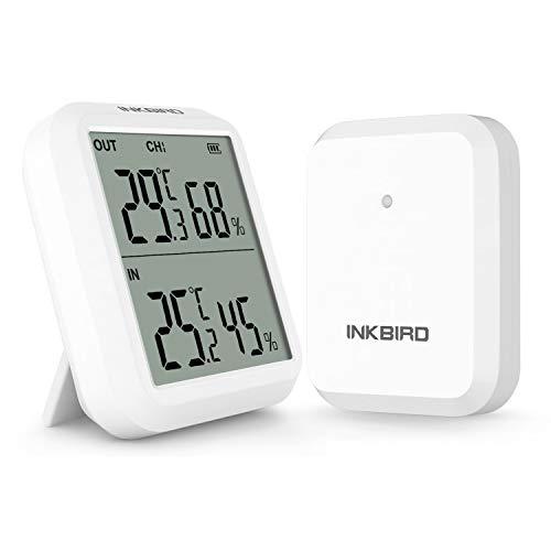 Inkbird ITH-20R Thermometre Hygrometre Interieur Exterieur sans Fil, Thermomètre hygromètre Numérique avec Sonde,Moniteur Température Humidité,Cave,Serre,Reptiles(ITH-20R+1 Émetteur)