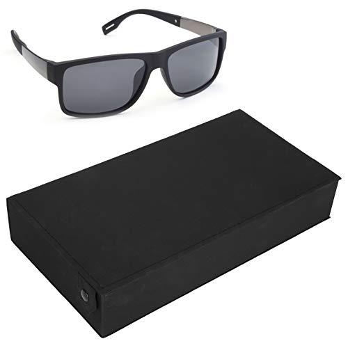 Brrnoo Caja de Almacenamiento de Gafas, Caja de Gafas Abotonada con 5 Compartimentos, Vitrina Protectora para Gafas de Sol, Organizador de joyería de Viaje (Negro)