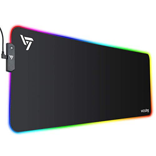 VicTsing Tapis de Souris Gamer RGB, Tapis de Souris Gaming 800x300x4 mm avec 13 Modes D'éclairage, Tapis Souris XXL, Surface & Base en Caoutchouc Antidérapante, Bord Cousu Durable - Noir