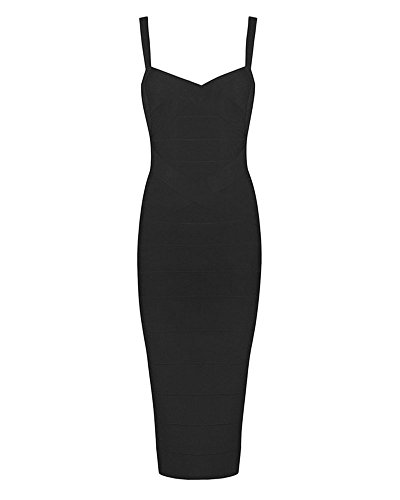 whoinshop Women's Rayon Strap Celebrity Midi Evening Party Bandage Dress (XL, Black-ployester)