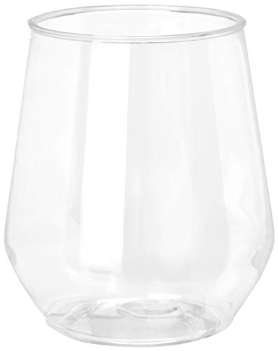 32 count 12 oz Unbreakable Stemless Plastic Wine Champagne Glasses Elegant Durable Reusable...