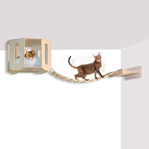 Hundehütte Deckenleuchte mit Seilbrücke - Komplett in Birke, Wandregal aus cm.45 mit einem Hängebrücke dass das Schließen der Zuflucht (cm. 160 x 50 x 50)
