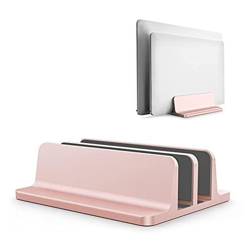 Soporte de computadora portátil Vertical para MacBook Air Pro Pro Dowtop Double Desktop Soporte de Escritorio con Muelle Ajustable (hasta 17.3 Pulgadas) L30 R57 (Color : Pink)